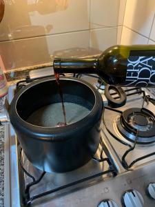 Vinho tinto italiano na sopa creme